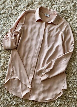 Пудровая блузка шифоновая рубашка блуза dkny