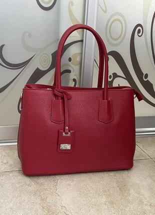 Красная кожаная сумка сумка кожаная итальянская деловая сумка красная сумка червона жіноча