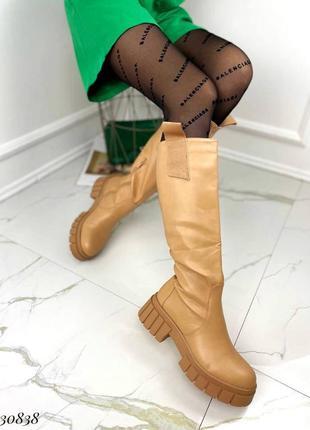 💥 шикарные кожаные сапоги карамель