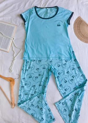 Фирменная голубая пижама из натурального хлопка (футболка +штаны) размер 42-44