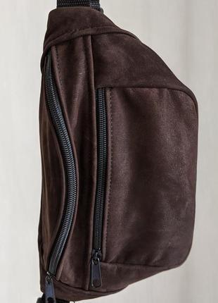 Бананка кожа шкіра эко-сумка на пояс ручная работа большая бурая коричневая блестящая б33