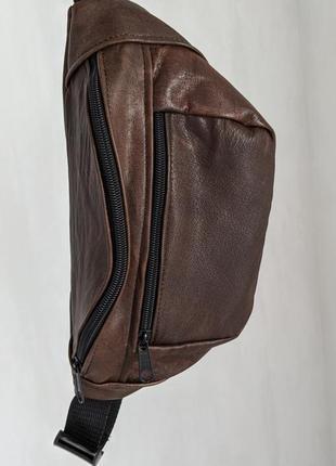 Бананка кожа шкіра эко-сумка на пояс ручная работа большая глянцевая пепси кола б34