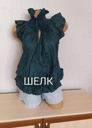 Шелковая блуза с разрезом по спинке