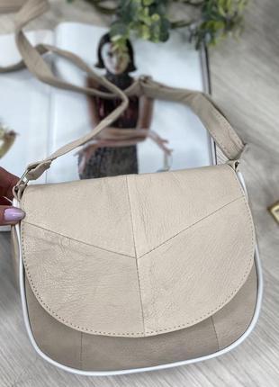 Натуральная кожа бежевая кожаная сумка через плечо сумочка клатч кроссбоди