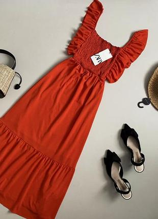 Новое трендове платье / сарафан миди с воланом по низу zara