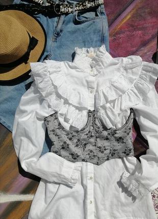 Винтаж/шикарнейший воротник/белая блуза рубашка