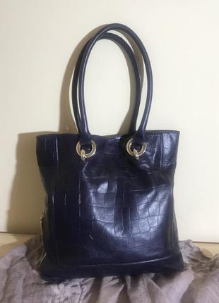 Большая сумка шопер из натуральной кожи jaeger