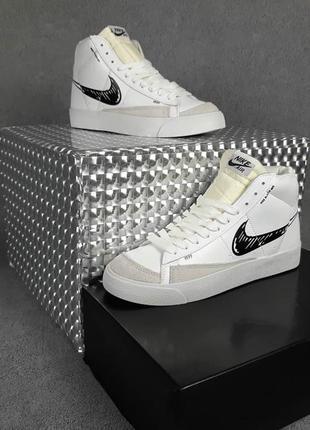 Nike blazer mid 77 белые с чёрниым