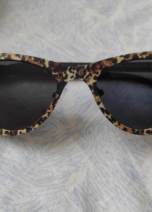 Очки солнцезащитные cat eye леопард тренд стекло