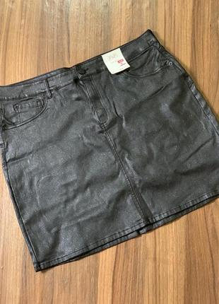Новая чёрная юбка с блеском 48-50р