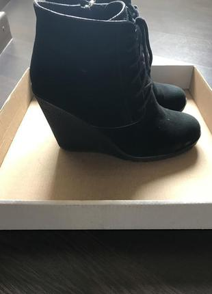 Натуральный замш ботинки ботильоны оригинал