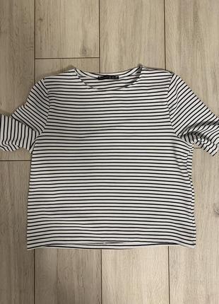 Полосатая/футболка/на выход/плотная/летняя/свободная/широкая