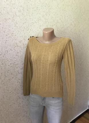 Короткий песочный свитер шерсть в составе. размер xs/s