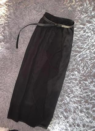 Чёрная длинная летняя юбка в пол на резинке  lindon  размер л