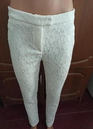 Белые ажурные брюки 44 р