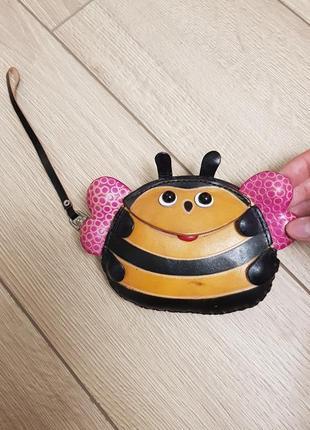 Кожаный кошелек пчела, кожаная ключница, шкіряний гаманець