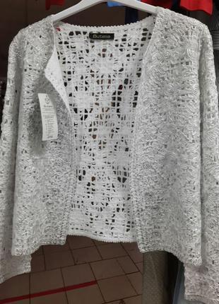 Пиджачок летний,нарядный,плетение,серебро