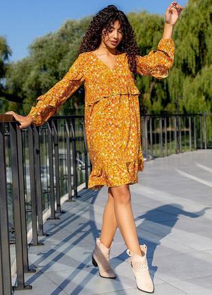 Короткое платье с рюшами из штапеля 3088