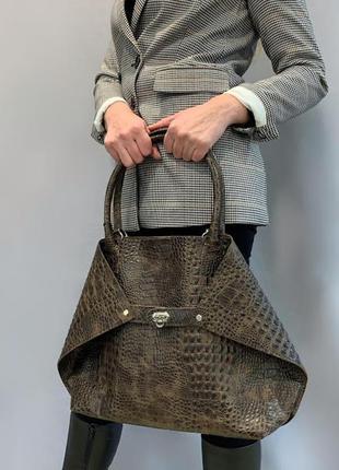 """Женская сумка """"флай"""" натуральная кожа, коричневая под крокодила"""
