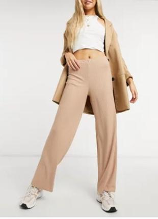 Натуральные трикотажные штаны с высокой посадкой