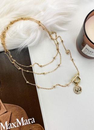 Многослойная цепочка цепь на шею с кольцом колье жемчуг подвеска монетка чокер ланцюжок кулон