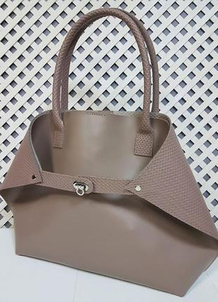 """Женская сумка """"флай"""" натуральная кожа, латте с плетенкой"""