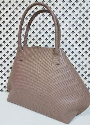 """Женская сумка """"флай"""" натуральная кожа, латте с плетенкой2 фото"""