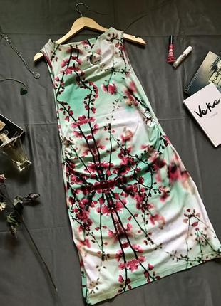 Платье в цветы, платье с сакурой, платье летнее