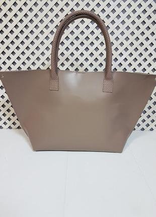 """Женская сумка """"флай"""" натуральная кожа, латте с плетенкой3 фото"""
