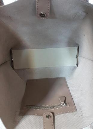 """Женская сумка """"флай"""" натуральная кожа, латте с плетенкой4 фото"""