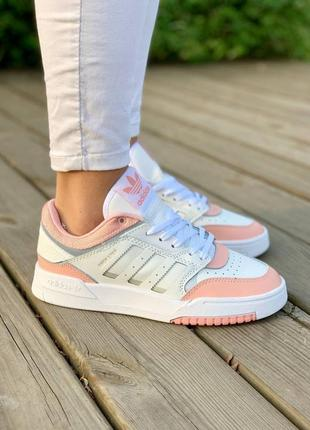 Крутые женские белые с розовым кожаные кроссовки, топ качество
