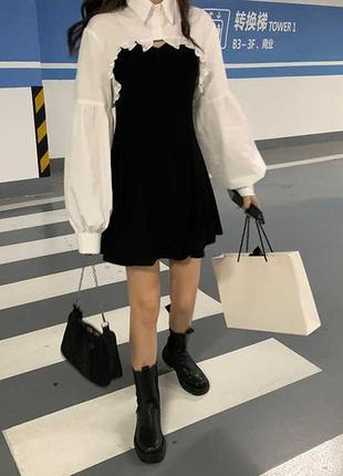 Черное платье с рубашкой