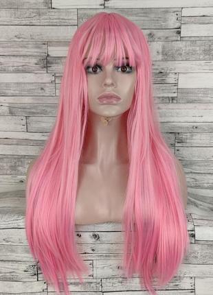 1179 парик розовый прямой с ровной челкой 70см