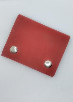 Кожаный мини кошелёк красный ручной работы.