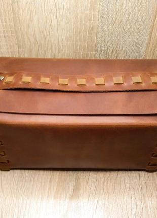 Кожаный несессер /органайзер /косметичка ручной работы