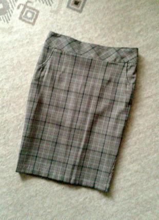 38-40р. кофейная узкая юбка-карандаш в клетку matalan