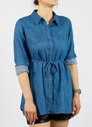 Джинсовая рубашка-туника синяя на пуговицах с поясом синяя isabela (сша)
