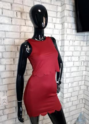 Платье по фигуре бордовое  boohoo