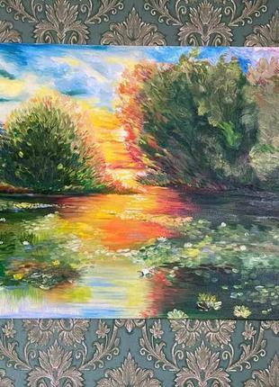 Картина маслом пейзаж авторская работа размер 70×50