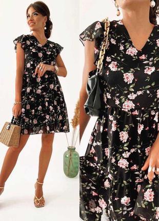 Женское шифоновое платье на подкладке🔥💓