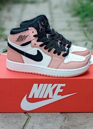 Женские кроссовки nike air jordan кожаные, осенние, высокие