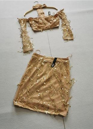 Летний лук - золотой топ с рукавами + юбка, пайетки, трендовый костюм золото лето 2021