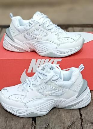 Женские кроссовки nike m2k tekno белые, кожаные