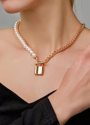 Многослойная цепочка цепь на шею с кольцом колье жемчуг подвеска замочек чокер ланцюжок кулон