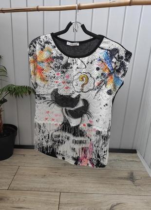 Женская удлинённая футболка с бахромой классная молодёжная футболка с рисунком оверсайз