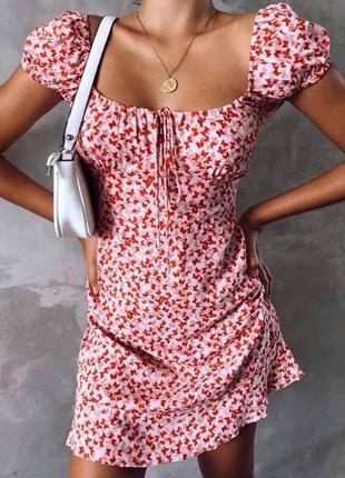Платье бюстье с рукавами фонариками завязками на груди в принт бабочки