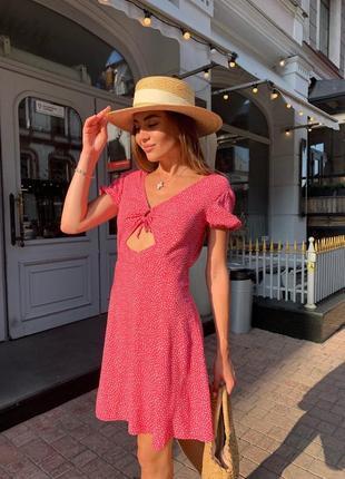 Платье женское летнее свободное легкое цветочное короткое мини красное малиновое