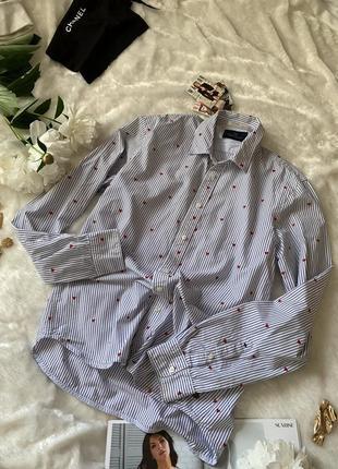 Милая рубашка в бархатные сердечки