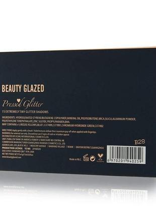🌈🎨палетка теней глиттеров beauty glazed pressed glitter 15 extremely tiny glitter shadows(15 color)7 фото