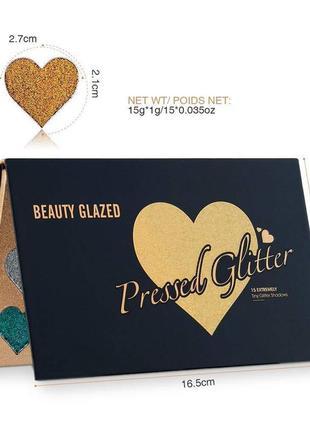 🌈🎨палетка теней глиттеров beauty glazed pressed glitter 15 extremely tiny glitter shadows(15 color)8 фото